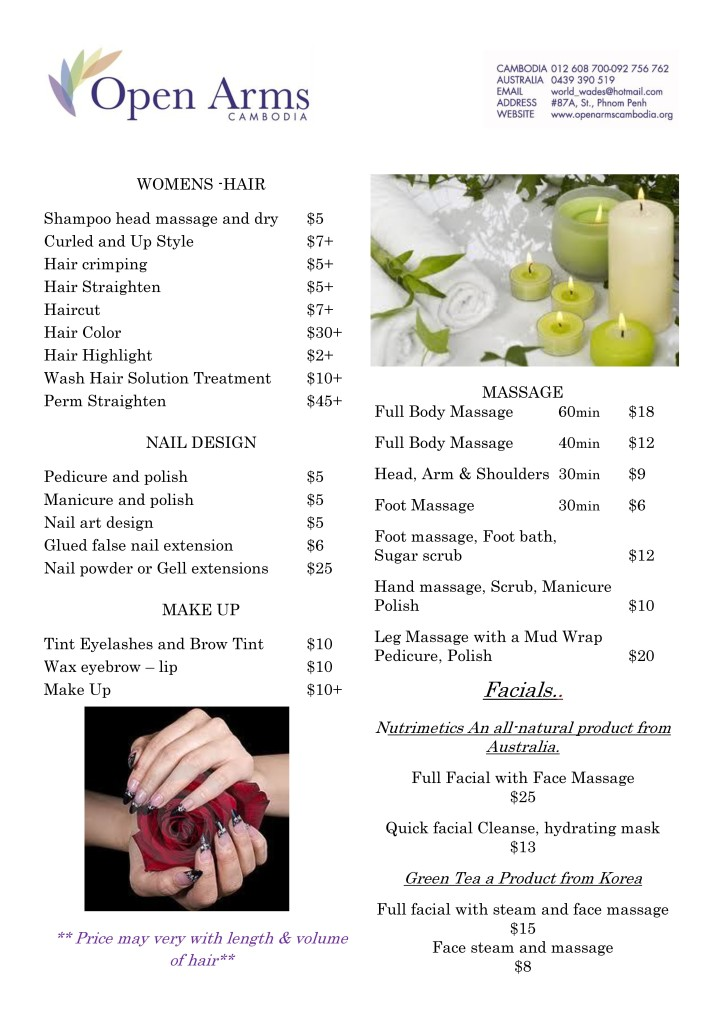 Open Arms beauty salon price list